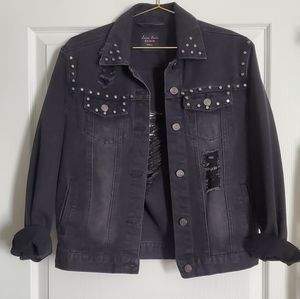Distressed Denim Jacket with Studs